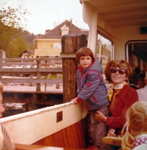 1975 on a boat with mom