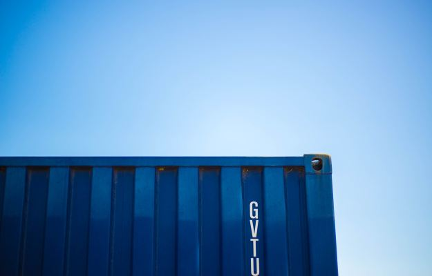 2019 cargo container and blue sky